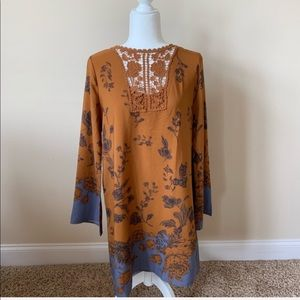Altar'd State rust and blue floral lace shift #?
